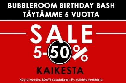 Bubbleroomilla synttärit: kaikista vaatteista -5% alennusta!